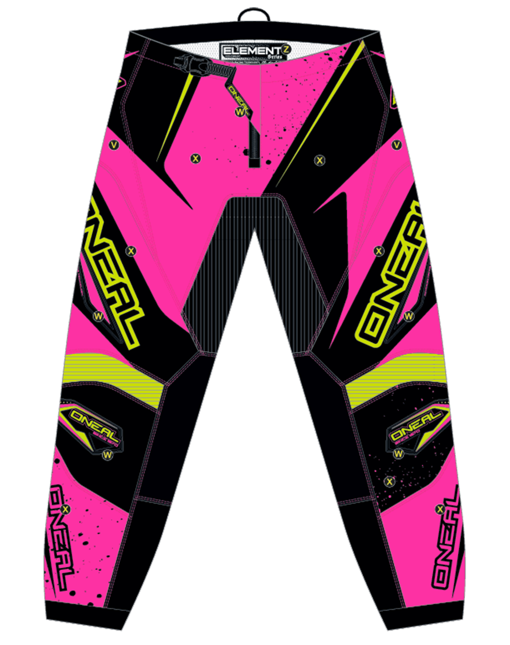 ELEMENT Pants RACEWEAR WOMEN pink/yellow 7/8 (32) - ELEMENT Pants RACEWEAR WOMEN pink/yellow 7/8 (32)